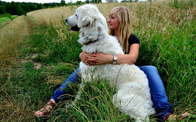 Woman sitting in the grass hugging her large dog